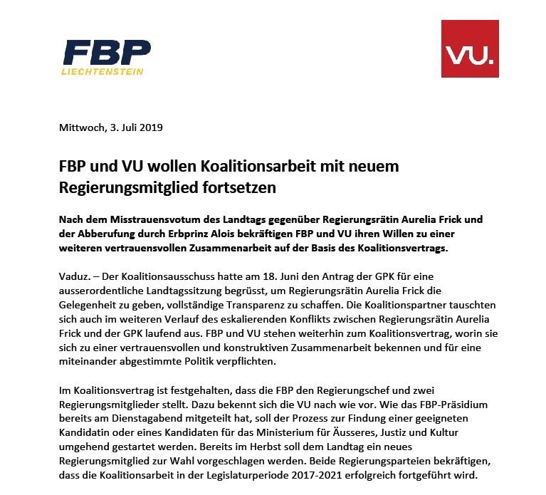 FBP und VU wollen Koalitionsarbeit mit neuem Regierungsmitglied fortsetzen
